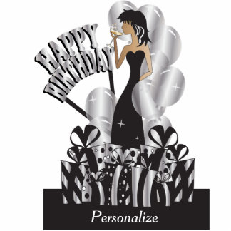 Happy Birthday Diva Party Girl- Silver Acrylic Cut Outs