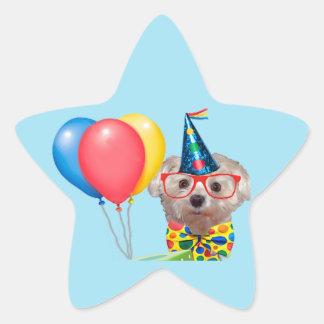 Happy Birthday Dog Star Sticker