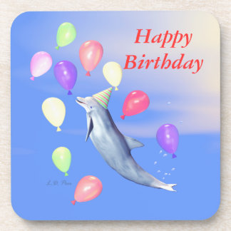 Happy Birthday Dolphin and Balloons Drink Coaster