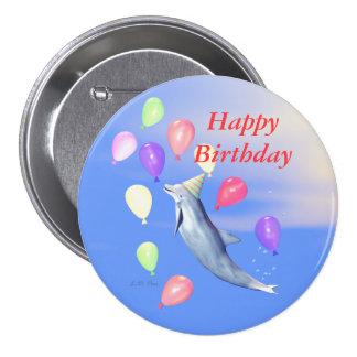 Happy Birthday Dolphin Pinback Button