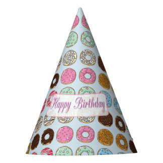 Happy Birthday Donuts Pink and Chocolate Party Hat