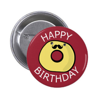 Happy Birthday Doughnut Character 6 Cm Round Badge