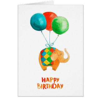 Happy Birthday Elephant & Balloons  Blank Inside Card