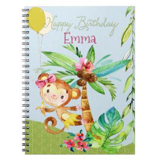 Happy Birthday Emma Monkey Spiral Notebook