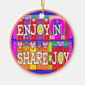 Happy Birthday - Enjoy and Share Joy Double-Sided Ceramic Round Christmas Ornament