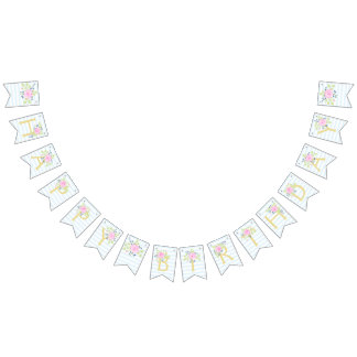 Happy Birthday Fancy Rose Blueberry Bunting Banner