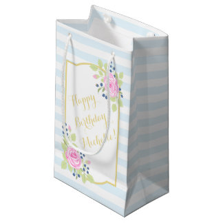 Happy Birthday Fancy Roses Blueberry Gift Bag