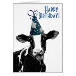 Happy Birthday Farmer - Party Hat Cow