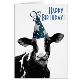 Happy Birthday Farmer - Party Hat Cow Card