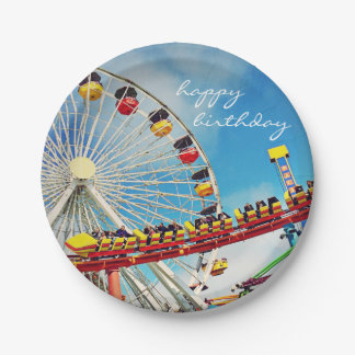 """Happy Birthday"" Ferris Wheel Roller Coaster Photo Paper Plate"