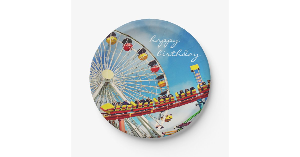 Quot Happy Birthday Quot Ferris Wheel Roller Coaster Photo Paper