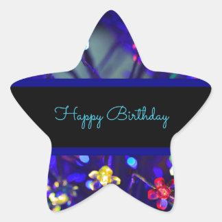 Happy Birthday Festive Celebration Star Sticker