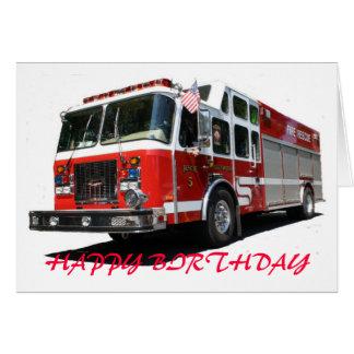 HAPPY BIRTHDAY Fire Truck Greeting Card