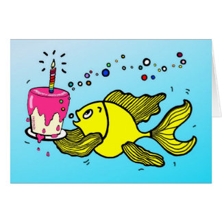Happy Birthday Fish - funny cartoon Greeting Card