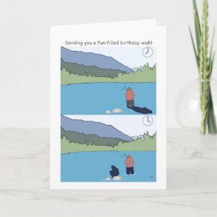 Happy Birthday Fishing Cards Funny Cartoon