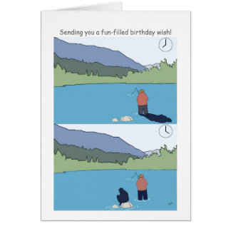 Happy Birthday Fishing Cards Funny Cartoon