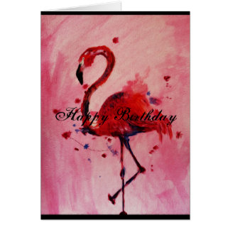 Happy Birthday - flamingo Grußkarte/greeting card