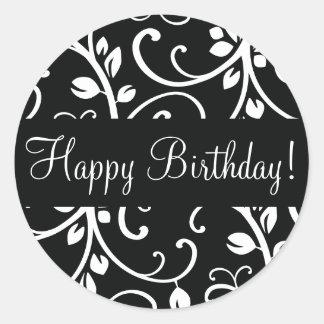 Happy Birthday Floral Vine Envelope Sticker Seal