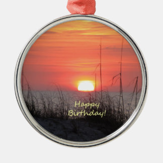Happy Birthday Florida Sunset Metal Ornament