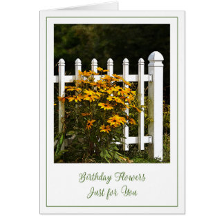 Happy Birthday Flowers and Garden Fence Card