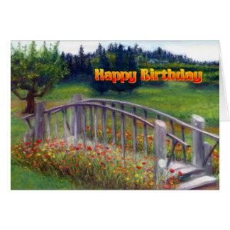 Happy Birthday Flowers & Footbridge - Ladybug Lane Card
