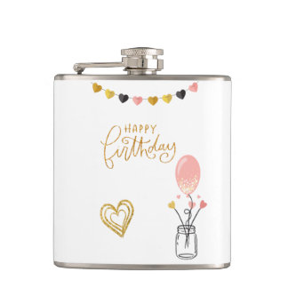 Happy Birthday for Her Hip Flask