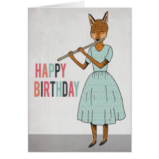 Happy Birthday - Fox Plays Flute Illustrated Card