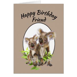 Happy Birthday Friend Cute Koala Bear Friends Card
