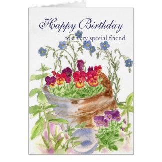 Happy Birthday Friend Flower Bucket Bouquet Card