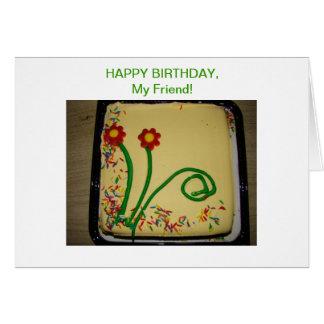 Happy Birthday Friend, Yellow Cake Card