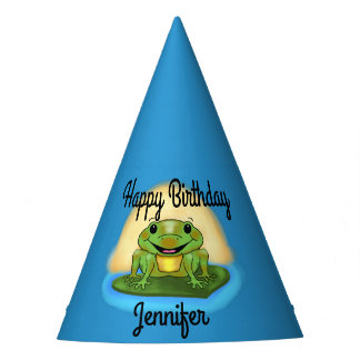 Happy Birthday Frog on a Lily Pad Birthday Hats