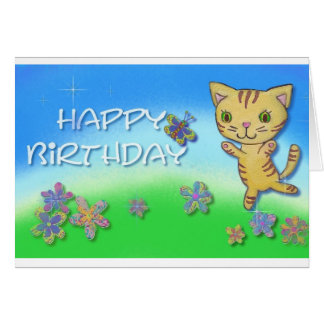 Happy birthday from a happy dancing cat card