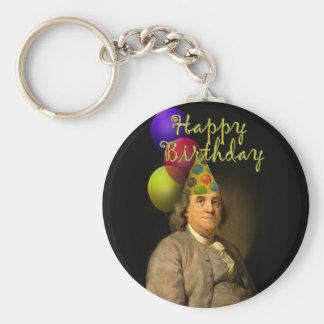 Happy Birthday  From Ben Franklin Basic Round Button Key Ring