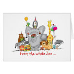 Happy Birthday from Group - Cute Zoo Animals Card