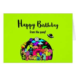 Happy Birthday From The Gang -  Cute Space Aliens Card