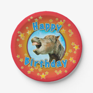 Happy Birthday from the laughing horse Paper Plate