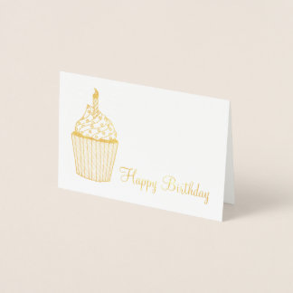 Happy Birthday Frosted Cupcake Sprinkles Candle Foil Card