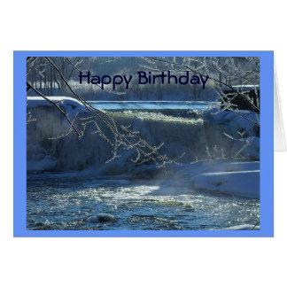 Happy Birthday Frosty Waterfall Greeting Card