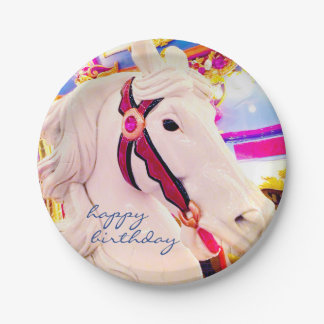 """Happy Birthday"" Fun Carnival Carousel Horse Photo Paper Plate"