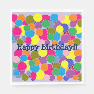 Happy birthday Fun Colorful Dots Design Disposable Serviette