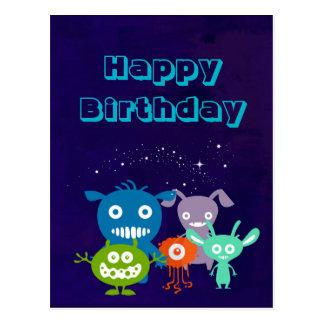 Happy Birthday Gang Of Cute Creatures Postcard