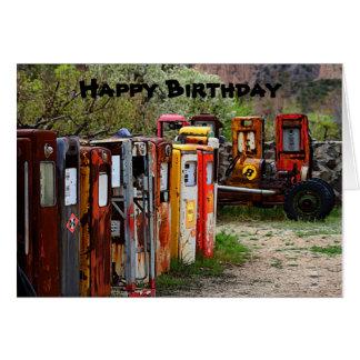 Happy Birthday Gas Pumps, Race Car Humor Card