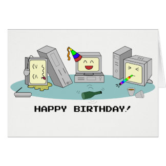'Happy Birthday' Geeky Computer Card, LAN Party Card