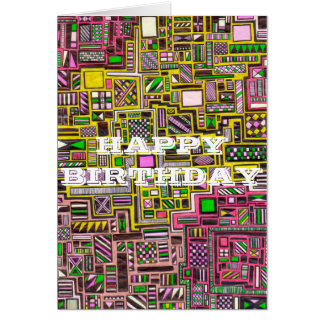 Happy Birthday Geometric shapes pop art punk Card