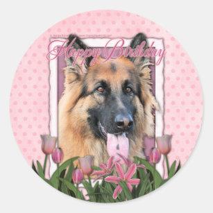 happy birthday german shepherd long haired classic round sticker