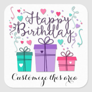 Happy Birthday Gift Boxes on White Customise Square Sticker