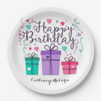 Happy Birthday Gift Boxes on White Customize Paper Plate