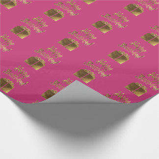 Happy Birthday Gift Pattern Pink Gold Typography Wrapping Paper