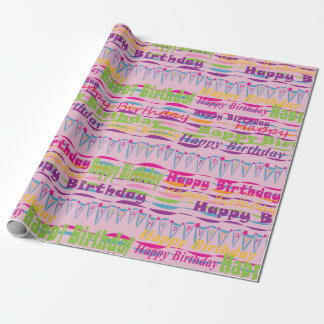 Happy Birthday Gift Wrap for girls