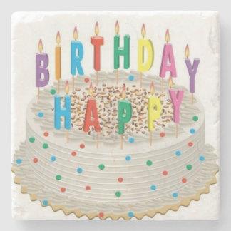 happy birthday stone beverage coaster